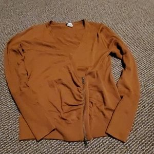 J. Crew brown wrap sweater with zipper